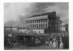 640px-Epsom_Grandstand_1830s - By Hughes, London, 2006, Public Domain